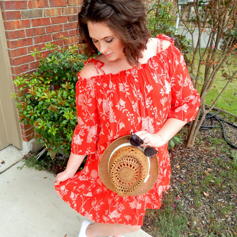 H M Red Floral Off Shoulder Dress Sunglasses Picnic BBQ Link up Red Summer  Dress 18761c2e7d73
