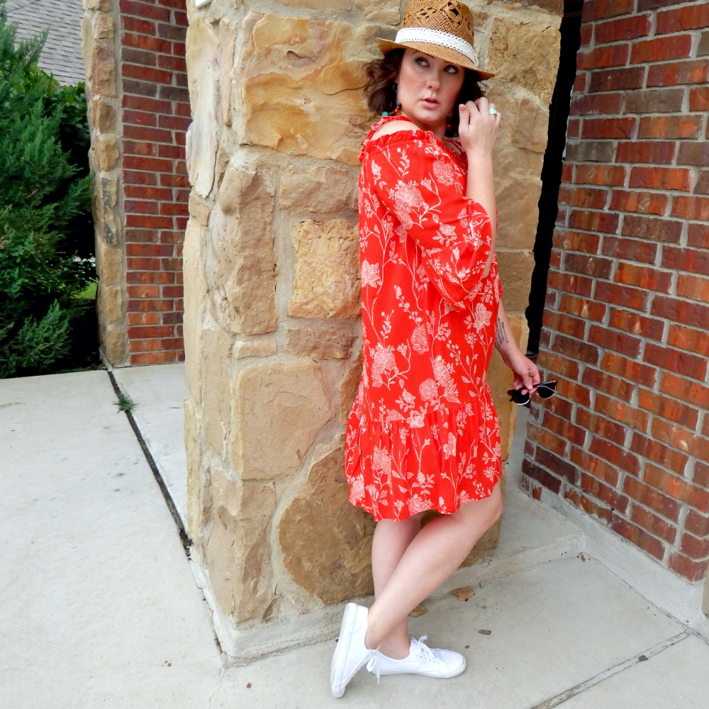 7212f4e03802 Straw Fedora with H M Red Off Shoulder Dress - Drew   Alice
